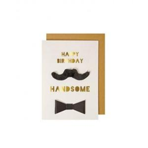 Happy birthday handsome card logo
