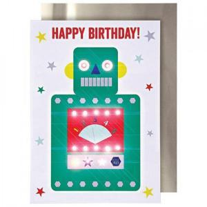 Stand-up robot birthday card logo