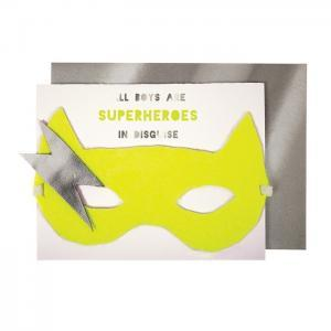 Boy superhero mask card logo
