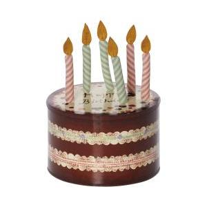 Birthday candles in cake box logo