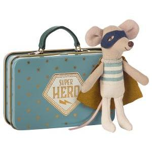 Superhero mouse suitcase logo