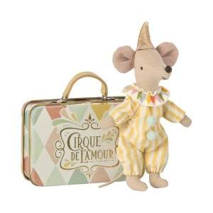 Clown mouse in suitcase logo