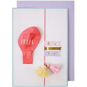 Pink hello baby balloon card logo