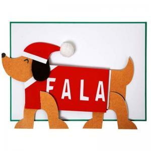 Sausage dog Christmas card logo