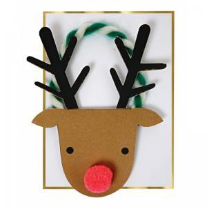 Reindeer head Christmas card logo