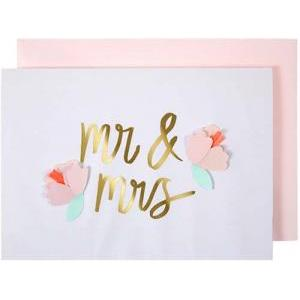 Mr & Mrs flowers card logo