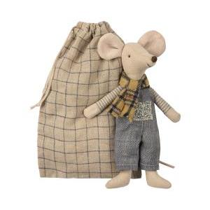 Winter mouse father in bag logo