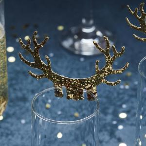 Gold antler glass decoration logo