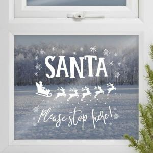 Santa stop here window sticker logo