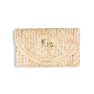 Straw clutch Mrs 16x26cm logo