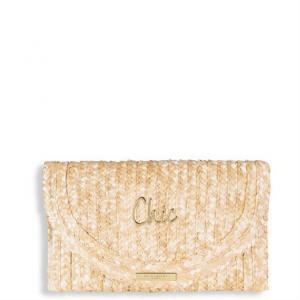 Straw clutch CHIC 16x26cm logo