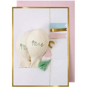 Mr & Mrs wedding balloon card logo