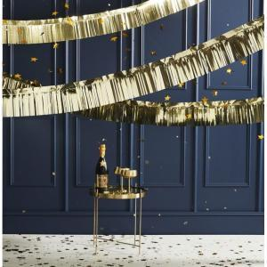 Pop the bubbly garland gold logo