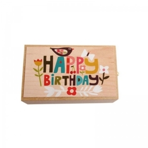 Houten box happy birthday logo