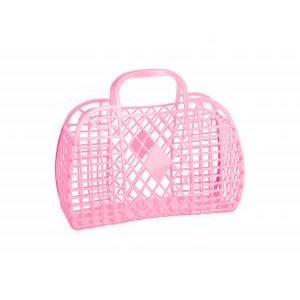 Retro basket large pink logo