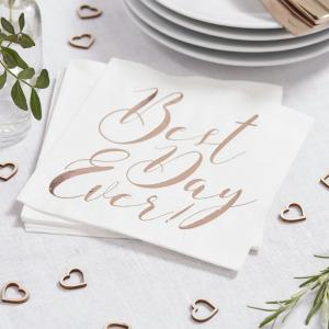 Rose gold best day ever napkin logo